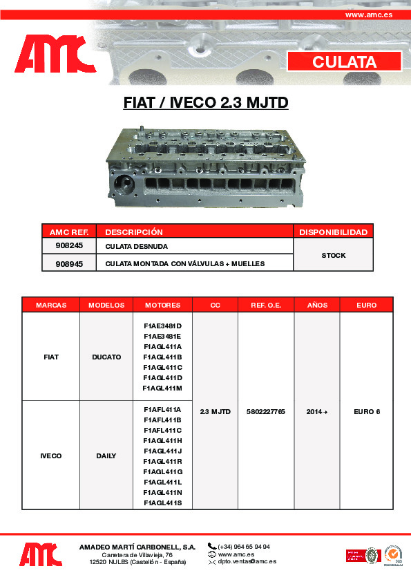 Culata Fiat 2.3 MJTD