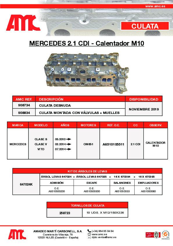 Culata Mercedes 2.1 CDI – Calentador M10